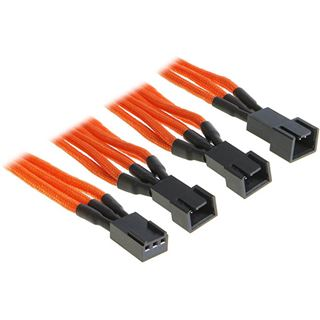 BitFenix 3-Pin zu 3x 3-Pin Adapter 60cm - sleeved orange/schwarz