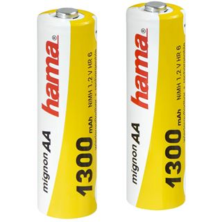 Hama HR6 Nickel-Metall-Hydrid AA Mignon Akku 1300 mAh 2er Pack