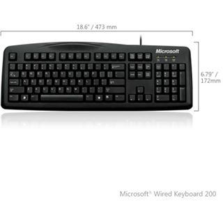 Microsoft 200 Wired Tastatur Schwarz Deutsch USB 1er