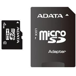 4 GB ADATA Turbo microSDHC Class 2 Retail inkl. Adapter auf SD