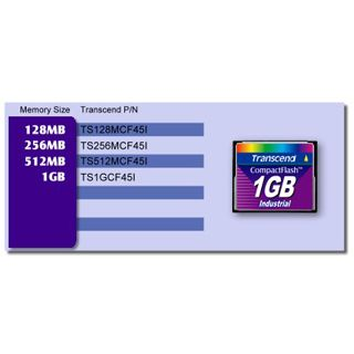 512 MB Transcend Industrial Compact Flash TypI 45x Bulk