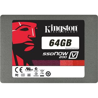 "64GB Kingston SSDNow V200 2.5"" (6.4cm) SATA 6Gb/s MLC asynchron (SV200S37A/64G)"