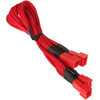 BitFenix 3-Pin zu 3x 3-Pin Adapter 60cm - sleeved red/red
