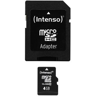 4 GB Intenso microSDHC Class 4 Retail inkl. Adapter auf SD