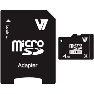 4 GB V7 microSDHC Class 4 Retail inkl. Adapter