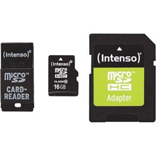 16 GB Intenso 3413770 microSDHC Class 10 Retail inkl. Adapter auf SD